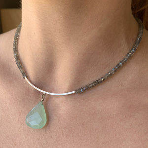 Labradorite SS Necklace With Calcite Pendant